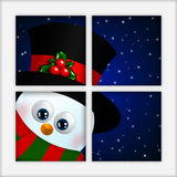 Christmas cartoon snowman  looking by the window Royalty Free Stock Photos