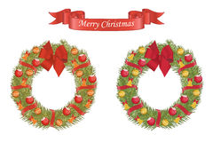 Christmas cartoon wreath with decorative elements Stock Photos