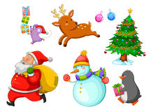 Christmas cartoons. Set of cartoons related to winter and christmas Stock Image