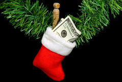 Cash in Christmas stocking  Stock Photography