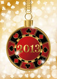 Christmas casino banner with 2013 poker chip. Vector Stock Photography