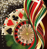 Christmas casino banner with poker cards Stock Photos