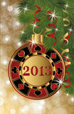 Christmas casino card with 2013 poker chip Stock Photography