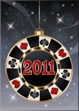 Christmas casino card, poker chip 2011 new year. Royalty Free Stock Image