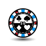 Christmas casino chips. Blue. Santa cap on the sides and the number of fifty in the middle. Illustration . Use for the site, royalty free illustration