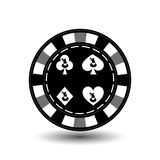 Christmas casino chips. Gray. Santa Claus on a spade, club, diamond, heart suit in the middle. Illustration . Use for the si. Te, printing, paper, cloth Stock Photo