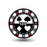 Christmas casino chips. Green. Santa Claus cap on the sides and the number 100 in the middle. Illustration . Use for the sit. E, printing, paper, cloth Royalty Free Illustration