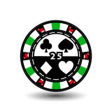 Christmas casino chips. Green. Santa Claus cap on the sides and the number twenty-five in the middle. Illustration . Use for. The site, printing, paper, cloth Royalty Free Stock Image