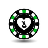 Christmas casino chips. Green. Santa Claus suit on the heart in the middle. Illustration . Use for the site, printing, paper. Cloth, decoration, design, etc Stock Photo