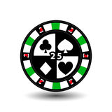 Christmas casino chips. Green. Skating Santa Claus. Illustration . Use for the site, printing, paper, cloth, decoration, des Stock Images