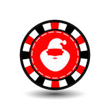 Christmas casino chips. red. Claus with his lips in the middle. Illustration . Use for the site, printing, paper, cloth, dec. Oration, design, etc. 10. EPS on a Royalty Free Stock Images