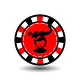 Christmas casino chips. red. Girl Santa Claus with his lips in the middle. Illustration . Use for the site, printing, paper, Stock Image