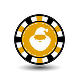 Christmas casino chips. yellow. Claus with his lips in the middle. Illustration . Use for the site, printing, paper, cloth,. Decoration, design, etc. 10. EPS on Royalty Free Stock Images