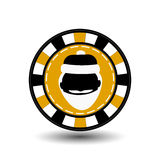 Christmas casino chips. yellow. Santa Claus is black in the middle. Illustration . Use for the site, printing, paper, cloth, Stock Images