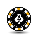 Christmas casino chips. Yellow. Santa Claus on the club suit in the middle. Illustration . Use for the site, printing, paper vector illustration