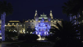 Christmas Casino garden. Christmas illumination of the Casino square and gardens in Monte Carlo Monaco Stock Image