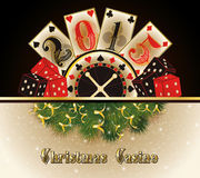 Christmas casino happy new 2015 year cards. Vector illustration Stock Images