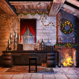 Christmas castle room. Castle room with a fireplace, candles and Christmas decorations Royalty Free Stock Images