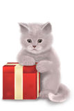 Christmas cat. Illustration of a kitten and a red gift box Royalty Free Stock Images