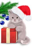 Christmas cat. Illustration. The kitten, a red box and Christmas balls on the tree Royalty Free Stock Photos