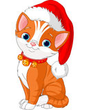 Christmas cat. With Santa's hat royalty free illustration