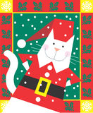 Christmas Cat. Dressed as Santa is smiling in a decorative illustration Royalty Free Stock Images