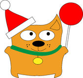 Christmas cat. Christmas little funny cat vector illustration Stock Image