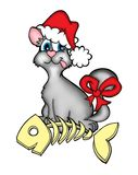 Christmas cat. Color illustration of Christmas cat sitting behing fishbone royalty free illustration