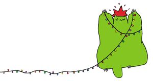 Christmas cat. Green cat pretending to be a christmas tree. Vector. Funny alternative christmas  series. For more charecters please see my portfolio Royalty Free Stock Photos