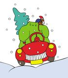 Christmas cat. Green cristmas cat with monkey helper driving a car. Vector. Funny alternative christmas  series Royalty Free Stock Image