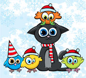 Christmas cat and birds with hats Stock Images