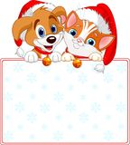 Christmas Cat and dog sign. Christmas Cat and dog holding sign (add your own message Royalty Free Stock Photos