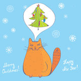 Christmas cat with fir tree Stock Photos