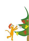 Christmas cat. Ginger cat decorates a Christmas tree Royalty Free Stock Photos