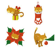 CHRISTMAS CAT. A cat playing with Christmas stuff stock illustration