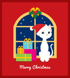 Christmas cat on the window. Vector christmas illustration of a cute cartoon white cat with Santa hat and pile of presents sitting on the arch window with night Royalty Free Stock Photography