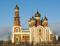 Christmas Cathedral.Omsk.Russia. Winter view.christian fane with six domes.Omsk.Russia Stock Images