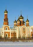 Christmas Cathedral.Omsk.Russia. Winter view.christian fane with six domes Stock Photos