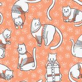 Christmas Cats in Embroidery Sweaters Seamless Vector Pattern royalty free illustration