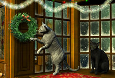 Christmas Cats in Holiday Window. 3D render of two cats in a snowy window decorated for Christmas Stock Photos