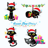 Christmas Cats. Set Of Christmas Cats Vector. Cartoon Cats With Holiday Gifts. Set Of Christmas Cats Vector. Cartoon Cats With Holiday Gifts. Design For New Stock Image