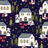 Christmas Cats Village Festive Seamless Vector Pattern, Drawn Present Boxes royalty free illustration