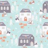 Christmas Cats Village Festive Seamless Vector Pattern, Drawn Present Boxes stock illustration