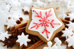 Christmas ccookies. Christmas cookies with cinnamon sticks Royalty Free Stock Photography