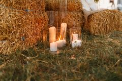 Many burning candles decorate the resting place. Christmas, celebrating concept. lights of burning candles create atmosphere of comfort and cosiness, and fresh stock photo