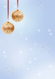 Christmas Celebration. Christmas Ornaments on blue winter background Royalty Free Stock Photography