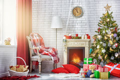 Christmas celebration. A beautiful living room decorated for Christmas stock photo