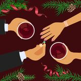 Christmas celebration and betrothal. Xmas amorous date theme top view on red table background. Vector illustration eps 10 Royalty Free Stock Photo