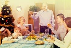Christmas celebration in the bosom of family Royalty Free Stock Photo
