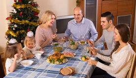 Christmas celebration in the bosom of family Royalty Free Stock Photos